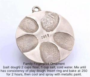 1 family finger print ornament