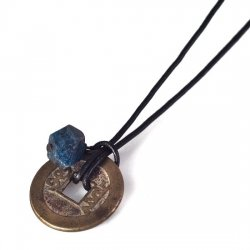 1 lapis and quing coin mens necklace